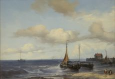 Fishing ships in the breakers by Louis Meijer