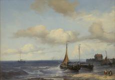 Fishing ships in the breakers by Louis Meijer