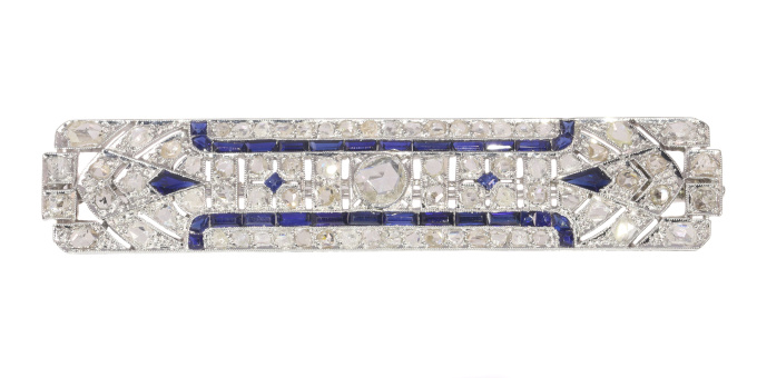 Vintage Art Deco platinum diamond and sapphire bar brooch by Unknown Artist