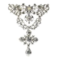 Antique Flemish cross pendant set with diamonds by Unknown