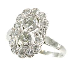 Art Deco diamond platinum engagement ring by Unknown Artist
