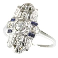 Real vintage Art Deco diamond and sapphire engagement ring by Unknown