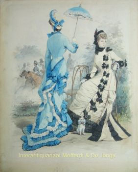 ELEGANTE DAMES IN HET BOIS DE BOULOGNE  by Jules David