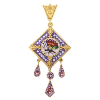 Victorian micromosaic pendant with compartment in the back by Unknown Artist