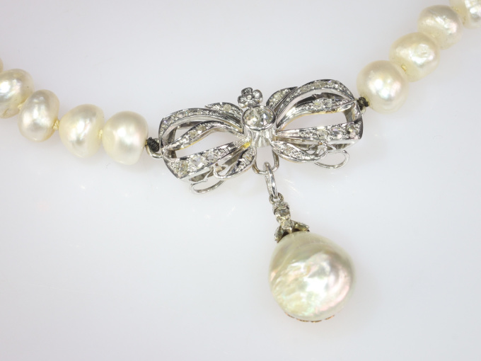 Vintage Swedish diamond and natural pearl necklace by Unknown Artist