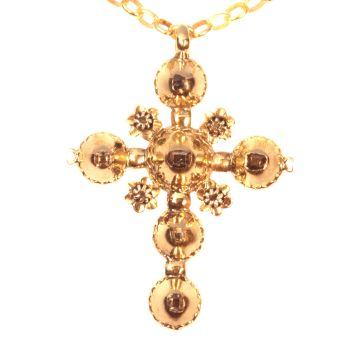 18th Century antique gold cross with table cut rose cut diamonds by Unknown Artist