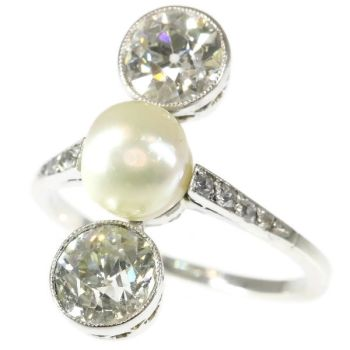 Platinum Art Deco engagement ring natural pearl and big old mine cut brilliants by Unknown Artist