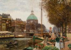 Selling flowers on the Singel in Amsterdam by Heinrich Hermanns