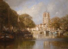 Town View in Summertime, De Oldenhove, Leeuwarden, Holland by Johannes Christiaan Karel Klinkenberg