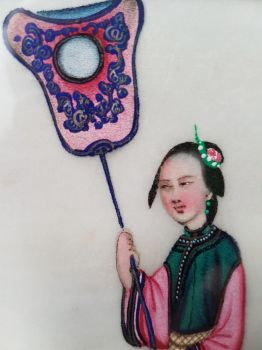 Chinese pit paper painting: Elegant lady holding a van. Late 19th century by Unknown Artist