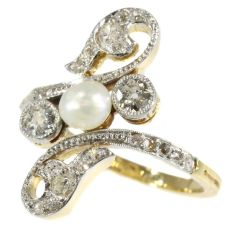 Elegant late Victorian diamond and pearl ring by Unknown Artist