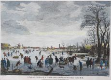 View of a village in Holland, with winter diversion on the ice by Neer, Aert van der