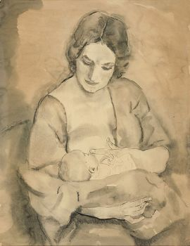 Zogende moeder by Jan Sluijters