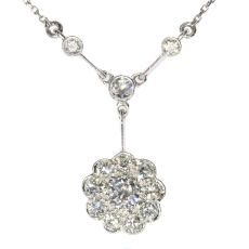 Vintage Art Deco platinum diamond chandelier necklace by Unknown