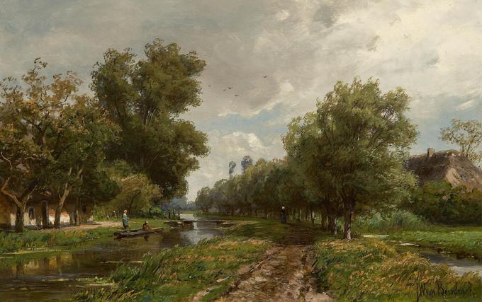 Summer landscape with figures by Jan Willem van Borselen