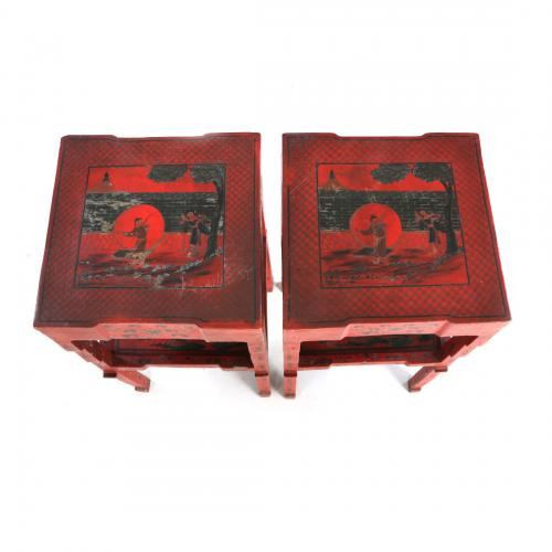 A pair of red-lacquered Chinese stands by Unknown Artist