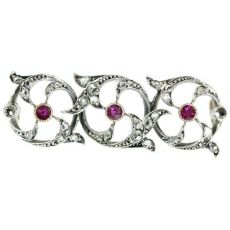 Victorian bar brooch with rose cut diamonds and rubies by Unknown Artist