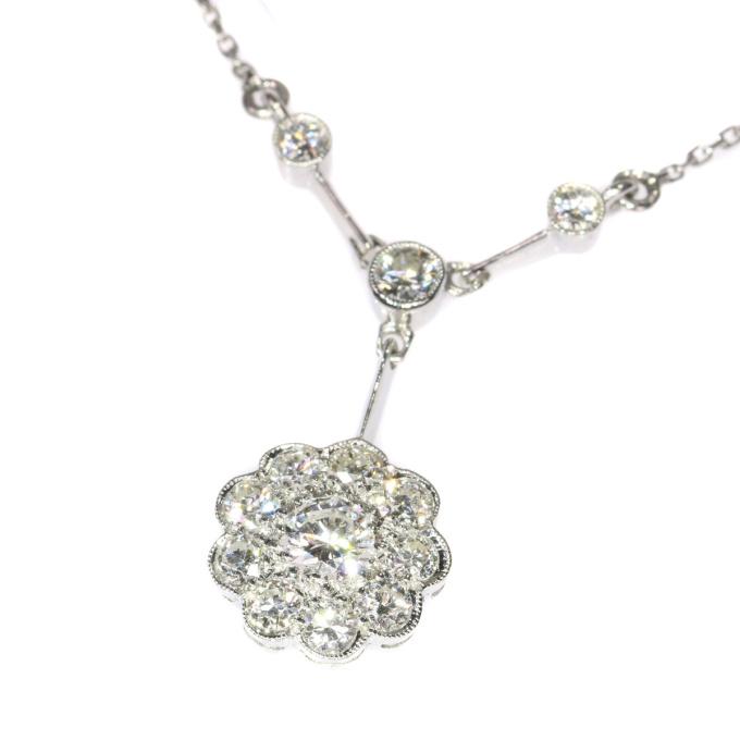 Vintage Art Deco platinum diamond chandelier necklace by Unknown
