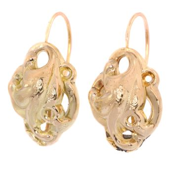 Victorian gold large earrings by Unknown Artist