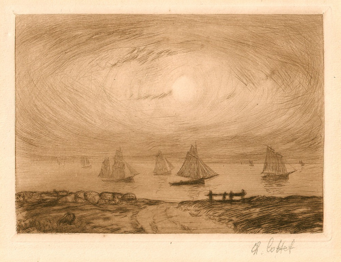 Marine - Barques au clair de lune by Charles Cottet