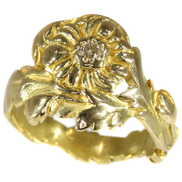 Late Victorian early Art Nouveau flower ring with natural fancy color diamond by Unknown Artist