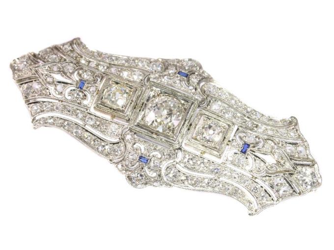 Original Vintage Art Deco diamond platinum brooch by Unknown