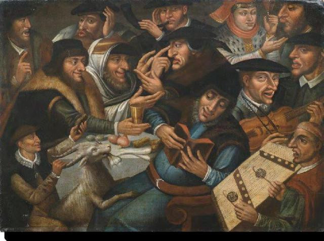 Jews celebrating Passover with a musical company by Giovan Paolo Lomazzo