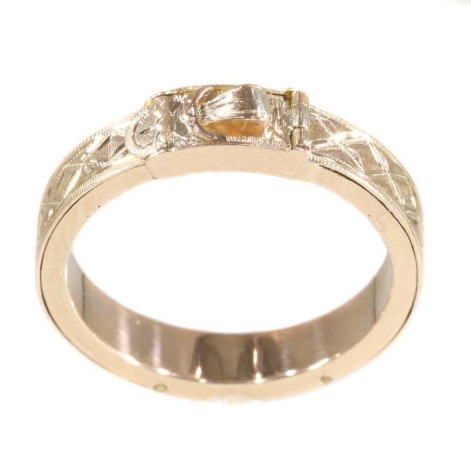 Victorian 18K pink gold ring with hidden secret place by Unknown Artist