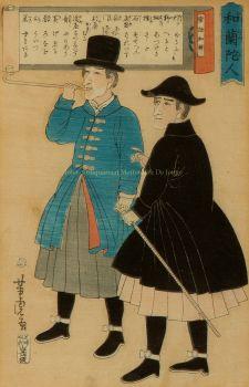 BUITENLANDERS IN JAPAN, NEDERLANDERS MET PIJP EN WANDELSTOK   by Yamaguchiya Tobei