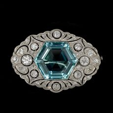 Aquamarine brooch by Unknown Artist