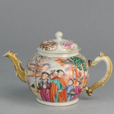 Guangcai Mandarin Famille Rose teapot: Scene of the falcon hunt, (1711-1796) by Unknown Artist