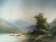 Mountain landscape with Lake by Corstiaan Hendrikus de Swart