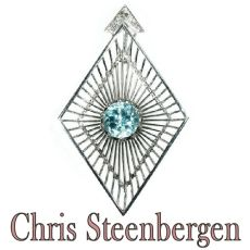 Artist Jewelry by Chris Steenbergen white gold pendant with diamond and starlite by Chris Steenbergen