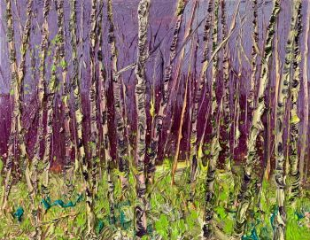 Purple sky birches by Gertjan Scholte-Albers