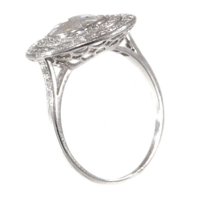 Art Deco platinum diamond engagement ring with large rose cut diamond by Unknown