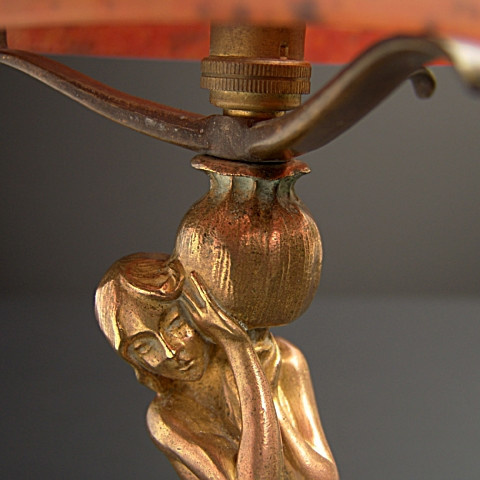 At nouveau table lamp  by Unknown Artist