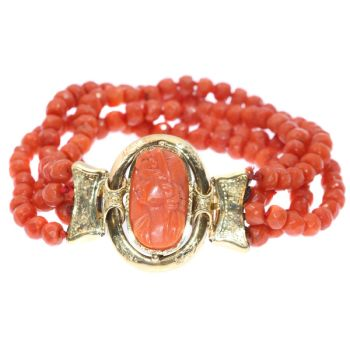 Antique Victorian coral cameo bracelet with faceted coral beads by Unknown Artist