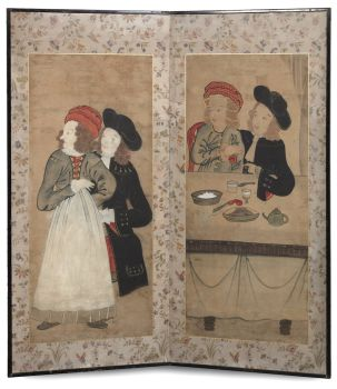 A JAPANESE TWO-FOLD SCREEN, BYOBU, DEPICTING A DUTCH COUPLE by Unknown Artist