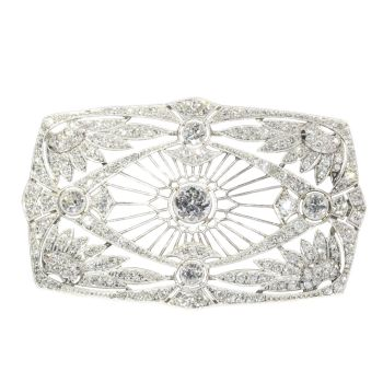 Vintage Art Deco diamond brooch set with 5.33 crt total diamond weight by Unknown Artist