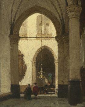 The St. Laurens Church, Alkmaar by Johannes Bosboom