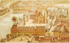Den Haag, Binnenhof  antieke lithografie by Heijligers