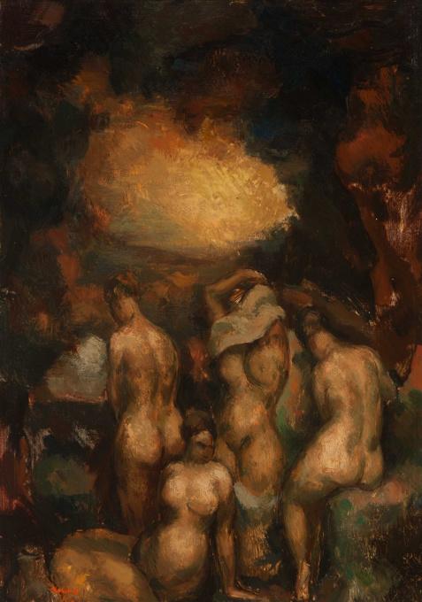 Arcadian landscape with nudes by Toon Kelder
