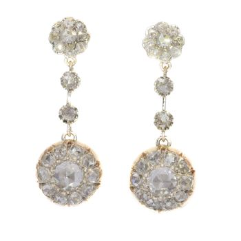 Vintage long pendant diamond earrings with 44 rose cut diamonds by Unknown Artist