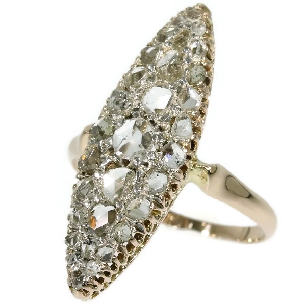 Antique rose cut diamond marquise-shaped ring by Unknown Artist