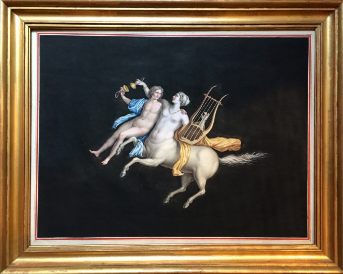 Maestri: Grand Tour gouache of Centaur of the Villa Cicero by Unknown Artist