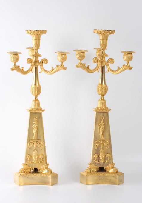 A pair of large French Empire Ormolu 4-light candelabra, circa 1810 by Unknown Artist