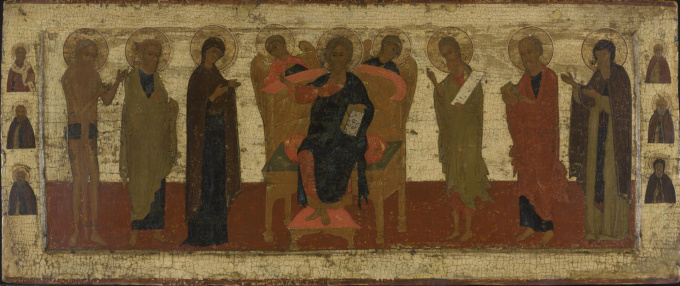 Russian icon depicting an extended Deesis by Unknown Artist