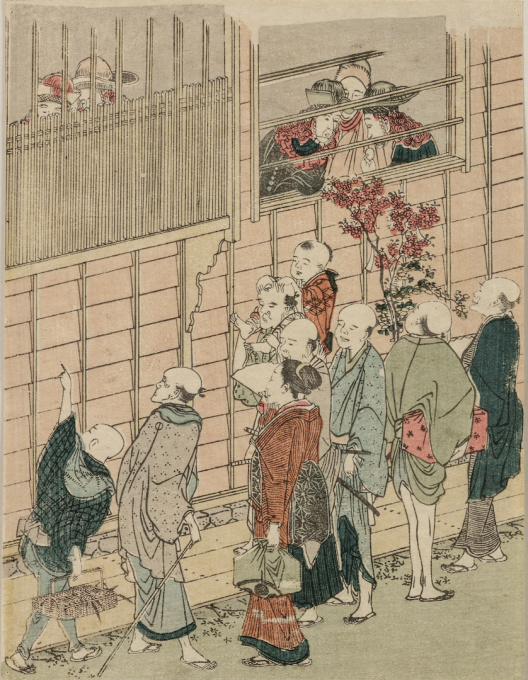 A Japanese colour woodblock print, Nagasaki-é, depicting Nagasaki-ya (Nagasaki hotel) by Unknown Artist