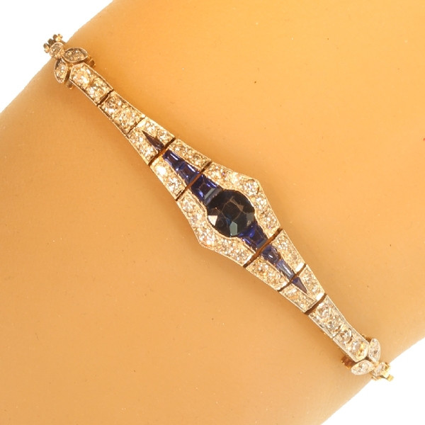 Belle Epoque gold and platinum bracelet with diamonds and sapphires by Unknown