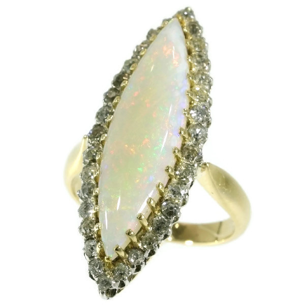 Original Antique Victorian opal and diamond ring by Unknown Artist